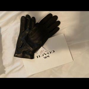 NWT Men's Coach Medium Black leather wool gloves